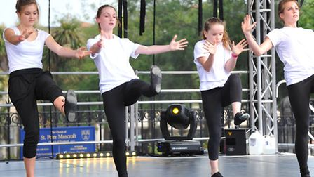 Young performers from the Garage dance on the stage at the Forum as part of the Young Norfolk Arts F