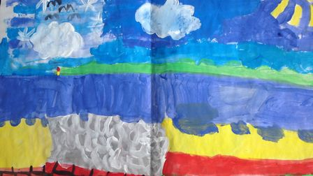 A seaside scene, painted by six-year-old Betsy Salt. Picture: CPRE Devon