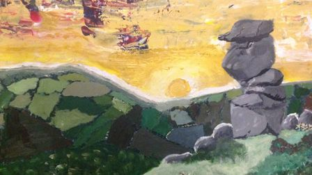 Bowerman's Nose, in Dartmoor, as painted by 10-year-old Thomasin Marley. Picture: CPRE Devon