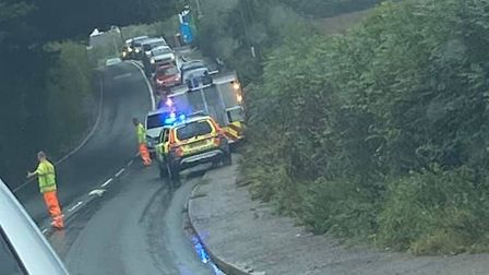 Traffic being affected by a three-vehicle collision on the A376 at Exton. Picture: Becca Harris