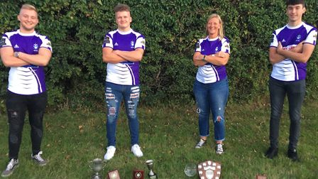 The Exmouth Rugby Club Colts awards winners (left to right) Ben Tew (Colt of the Year); Tom Pengille