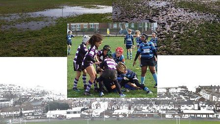 The Exmouth RFC playing surfaces and the clear need for impropved drainage. Picture: ERFC