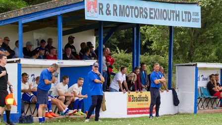 Exmouth Town at home to Barnstaple in a FA Cup game. Ref exsp 33 19TI 0143. Picture: Terry Ife