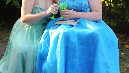 Eleanor Ward, 16, of Horsham St Faith, with her best friend Rebecca Tulett, 16, ready for their prom