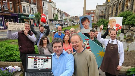 Cromer traders celebrate their new shopping website. Front left to right, trader Marcus Hickling and
