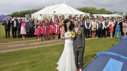 Newlyweds Kate Parnell and Neil Missen with their guests, and tents at their reception venue, the Wo