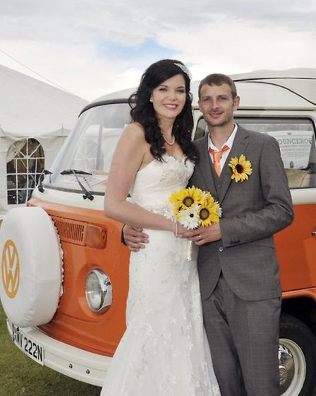 Newlyweds Kate Parnell and Neil Missen at their reception venue, the Woodhill Holiday Park at East R