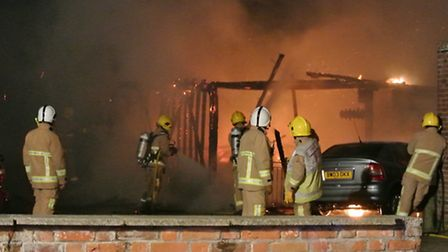 Firefighters at The Three Mariners, Trimley St Mary, near Felixstowe, last night