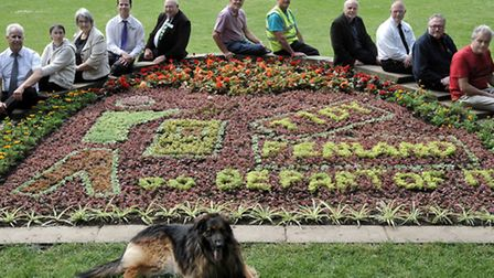 Carpet bedding that depicts TIDY FENLAND in Wisbech park.