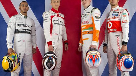 The four men holding the hopes of British F1 fans at Silverstone - from left Lewis Hamilton, Max Chi