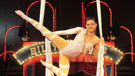 Acts from Billy Smarts Circus getting ready to perform in Lowestoft.Aerial skills artist Josie.