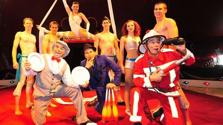 Acts from Billy Smarts Circus getting ready to perform in Lowestoft.
