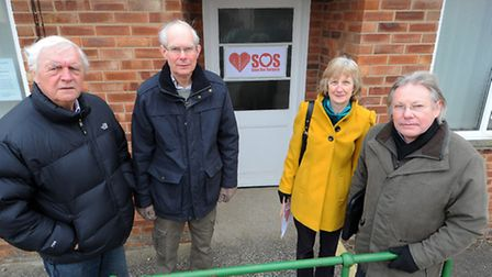 Terry Clarkson, (L to R) Chris Davy, Ann Baker and Patrick Marney outside the surgery in Dickleburgh
