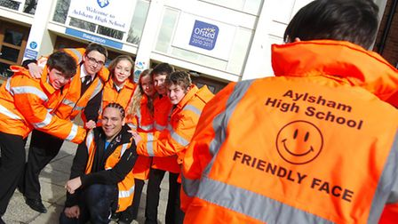 Aylsham High School Friendly Faces group pictured last year during a visit from Diana Award anti-bu