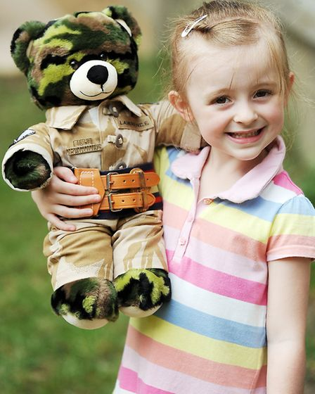 Jessica Lawrence with Daddy Bear. Picture: Matthew Usher.