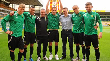 Kyle McFadden, right, with some of his fellow FA Youth Cup winners. Picture: Denise Bradley