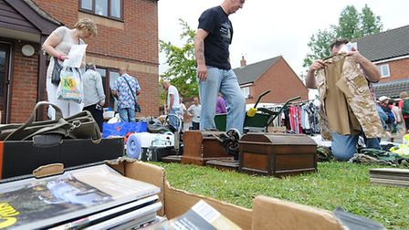 Buxton residents taking part in a village garage sale. PHOTO: ANTONY KELLY