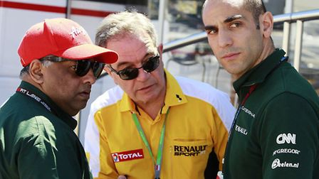 Caterham owner Tony Fernandes (left) with team principal (right) Cyril Abiteboul.