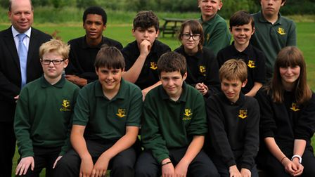 Sean Summington, Deputy Head of New Eccles Hall School with some of the pupils that are now back at