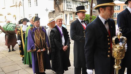The new Lord Mayor, Keith Driver, back 2nd left, and Sheriff of Norwich.Graham Creelman (blue robe),