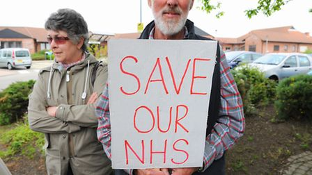 Protest outside Carlton Court Hospital in Carlton Colville.Organised by Bob Blizzard.Picture: James