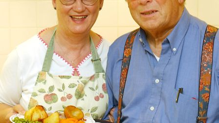 Roy and Mary Hansell serving up lunch for the elderly at St Lukes Centre on Aylsham road. Photo: Nic