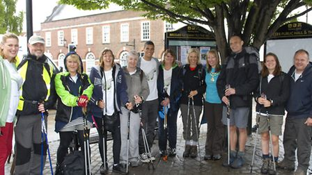 Lowestoft boxer Anthony Ogogo (centre) joins walkers on the Walk the Journey trek from Great Yarmout
