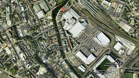 A Google Maps image of Wherry Road, Norwich