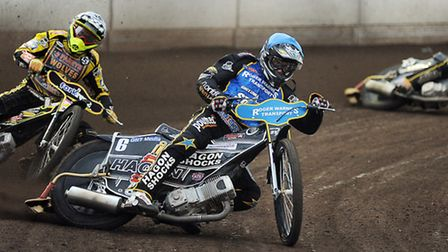 Action from The King's Lynn Stars v Wolverhampton Wolves at the Norfolk Arena - Heat 4 and Richie Wa