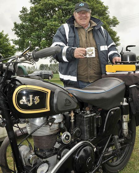 Gorefield Show. Bob Doughty with his AJS 350.