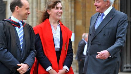 The Earl of Leicester, right, with head of school Rebecca Cadman and headmaster Steffan Griffiths at