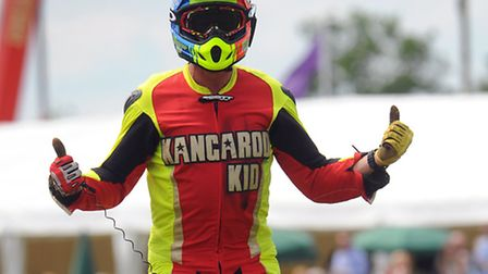 The Kangaroo Kid in the Grand Ring at the Royal Norfolk Show on his quad bike. Photograph Simon Park