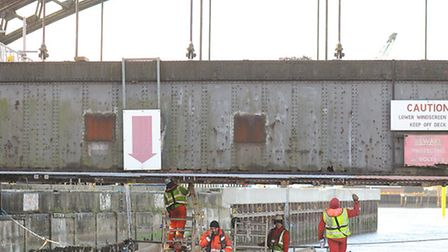 Renovation work taking place on Vauxhall Bridge close to Great Yarmouth station.November 2012 Pictur