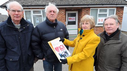 From left, Chris Davy, Terry Clarkson, Ann Baker and Patrick Marney outside the surgery in Dicklebur