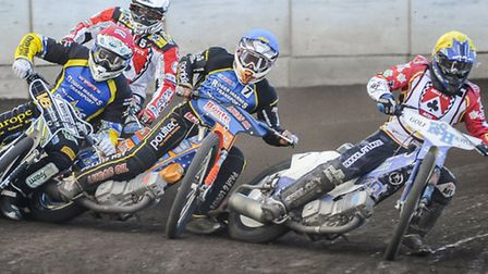 Action from the Elite League meeting between King's Lynn Stars v Belle Vue - Heat 4 and Kevin Doolan