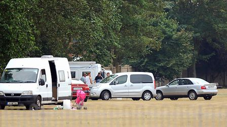 Travellers on the Beaconsfield recreation ground close to the seafront in Great Yarmouth.