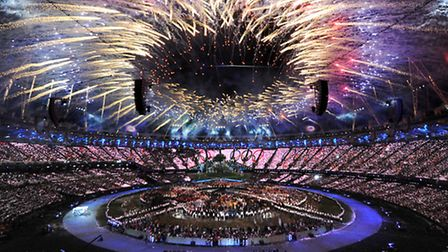 Fireworks mark the opening of the London Olympic Games 2012 Opening Ceremony at the Olympic Stadium,