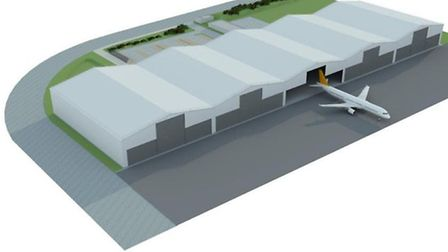 Plans for Air Livery aeroplane painting base at Norwich Aeropark.