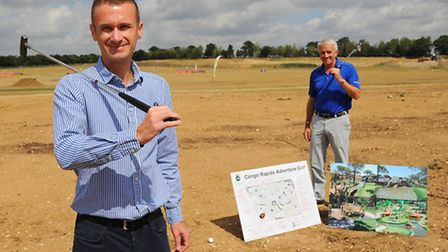 David Moore, left, who is planning to build the Congo Rapids Adventure Golf course at the Family Gol