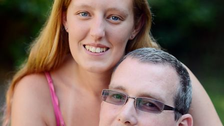 Becky Fowler with her Dad David Fowler. Becky is doing a Hunstanton to Hopton coastal walk to raise