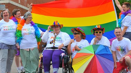 Michelle Savage and friends flying the flag for Norwich Pride.Photo: Bill Smith