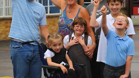 Chapel Road School, Attleborough headteacher Karin Heap celebrating with some of the pupils the news