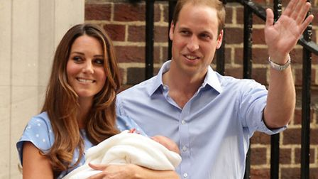 The Duke and Duchess of Cambridge leave the Lindo Wing of St Mary's Hospital in London, with their newborn son. Photo: Yui...