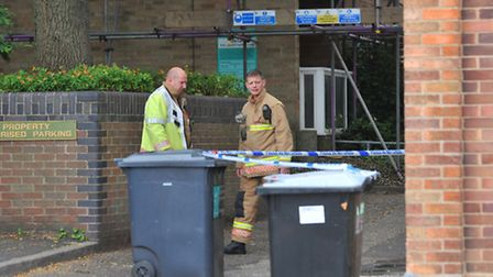 Fire services at the scene of the fatal fire in Holls Lane, Norwich.Photo: Bill Smith