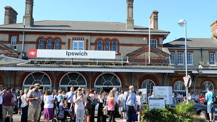 Emergency services at Ipswich Railway Station after a person climbed onto the roof.