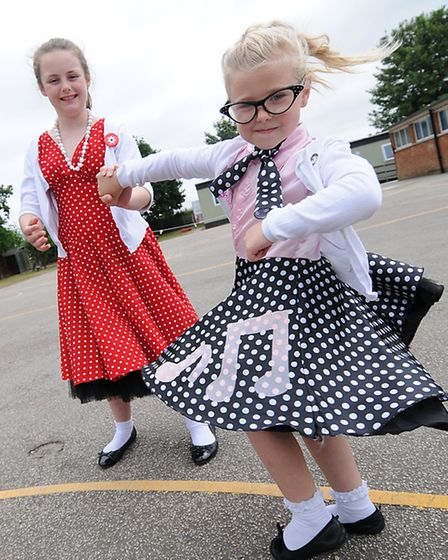 Cawston Primary School celebrating it's 60th annivesary. Children dressed in clothes from the 1950's