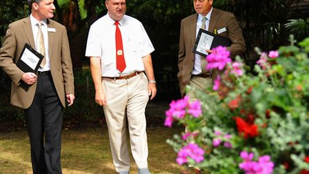 Britain in Bloom judges tour Norwich city gardens. Judges Andrew Jackson, left, and Martyn Hird, rig