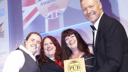 The Brickmakers won 'Best Live Music Pub' at GBPA 2011. Pictured (left to right): Emma Teasdale, Ch