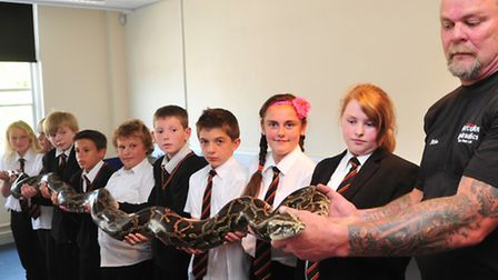 Year 7 students from Ormiston Denes Academy get to meet a 16ft Burmese Python. Owner, Mike Anderson