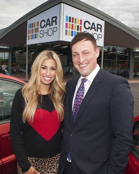 Flashback to CarShop Norwich's opening in July 2012 by TV celebrity Stacey Solomon pictured with Jon